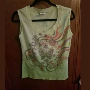 Harley-Davidson Cropped Green Sleeveless Top L